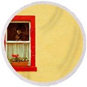 Cottage Window Round Beach Towel