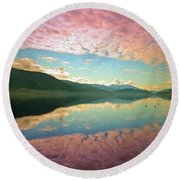 Round Beach Towel featuring the photograph Cotton Candy Clouds At Skaha Lake by Tara Turner