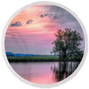 Cotton Candy Sunrise Round Beach Towel