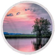 Round Beach Towel featuring the photograph Cotton Candy Sunrise by Fiskr Larsen