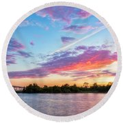 Cotton Candy Sunset Round Beach Towel
