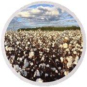 Cotton Field In South Carolina Round Beach Towel