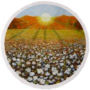 Cotton Field Sunset Round Beach Towel