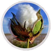 Round Beach Towel featuring the photograph Cotton Pickin' by Skip Hunt