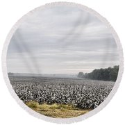 Round Beach Towel featuring the photograph Cotton Under The Mist by Jan Amiss Photography