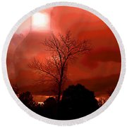 Round Beach Towel featuring the photograph Cottonwood Crimson Sunset by Joyce Dickens