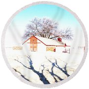 Cottonwood Ranch, Kansas Round Beach Towel