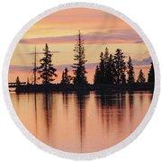 Cottonwood Sunset Lake Reflections  Round Beach Towel