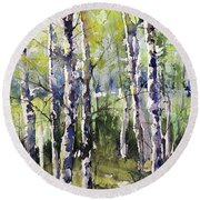 Cottonwoods And Sycamores Round Beach Towel