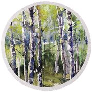 Cottonwoods And Sycamores Round Beach Towel by Robin Miller-Bookhout
