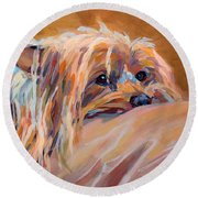 Couch Potato Round Beach Towel by Kimberly Santini