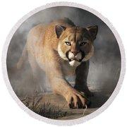Round Beach Towel featuring the digital art Cougar Is Gonna Get You by Daniel Eskridge