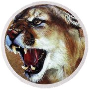 Cougar Round Beach Towel by J W Baker