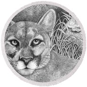 Cougar Round Beach Towel by Lawrence Tripoli