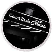 Count Basie Theatre In Lights Round Beach Towel
