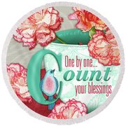 Count Your Blessings Round Beach Towel