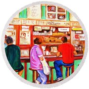 Round Beach Towel featuring the painting Counter Culture by Carole Spandau