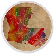 Parishes Of Louisiana Colorful Vibrant Watercolor State Map On Old Canvas Round Beach Towel