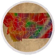 Counties Of Montana Colorful Vibrant Watercolor State Map On Old Canvas Round Beach Towel