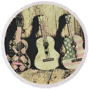 Country And Western Saloon Songs Round Beach Towel