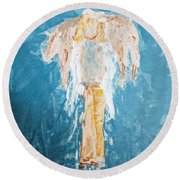 Country Angel Round Beach Towel