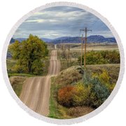 Round Beach Towel featuring the photograph Country Autumn by Fiskr Larsen