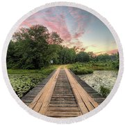 Country Bridges Round Beach Towel by JC Findley