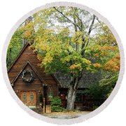 Round Beach Towel featuring the photograph Country Chapel by Jerry Battle