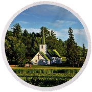 Country Church 003 Round Beach Towel
