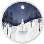 Country Church In Moonlight 2, Silent Night Round Beach Towel