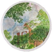 Country Church Round Beach Towel by Lucia Grilletto