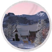 Country Church Round Beach Towel by Methune Hively