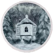 Round Beach Towel featuring the digital art Country Church On A Snowy Night by Lois Bryan