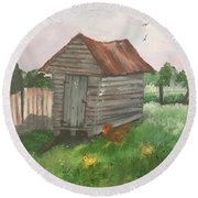 Round Beach Towel featuring the painting Country Corncrib by Lucia Grilletto