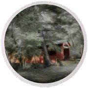 Round Beach Towel featuring the photograph Country Crossing by Marvin Spates