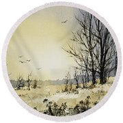 Round Beach Towel featuring the painting Country Dawn by James Williamson