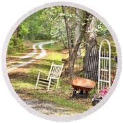 Country Driveway In Springtime Round Beach Towel