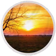 Country Easter Sunrise  Round Beach Towel
