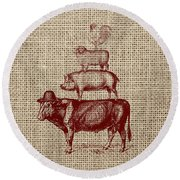 Country Farm Friends 2 Round Beach Towel