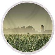 Country Farm Landscape Round Beach Towel