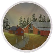 Country Farm Round Beach Towel