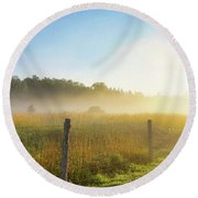 Country Fencerow Round Beach Towel