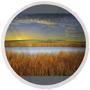 Country Field 2 Round Beach Towel
