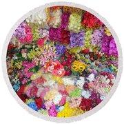 Country Flower Garden Colourful Design Round Beach Towel