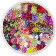 Country Flower Garden Colourful Design Round Beach Towel