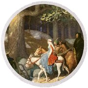 Country Folk Wending Their Way To The Tourney Round Beach Towel by Newell Convers Wyeth