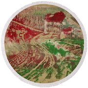 Country Home With Cottage Round Beach Towel