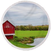 Round Beach Towel featuring the photograph Country In Ohio by Mary Timman