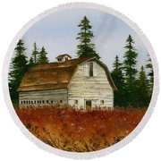 Round Beach Towel featuring the painting Country Landscape by James Williamson