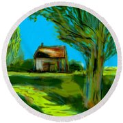 Round Beach Towel featuring the painting Country Landscape by Jim Vance